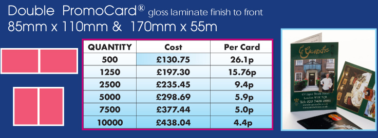 promocard double 85mm x mm & 170 mm x 55mm